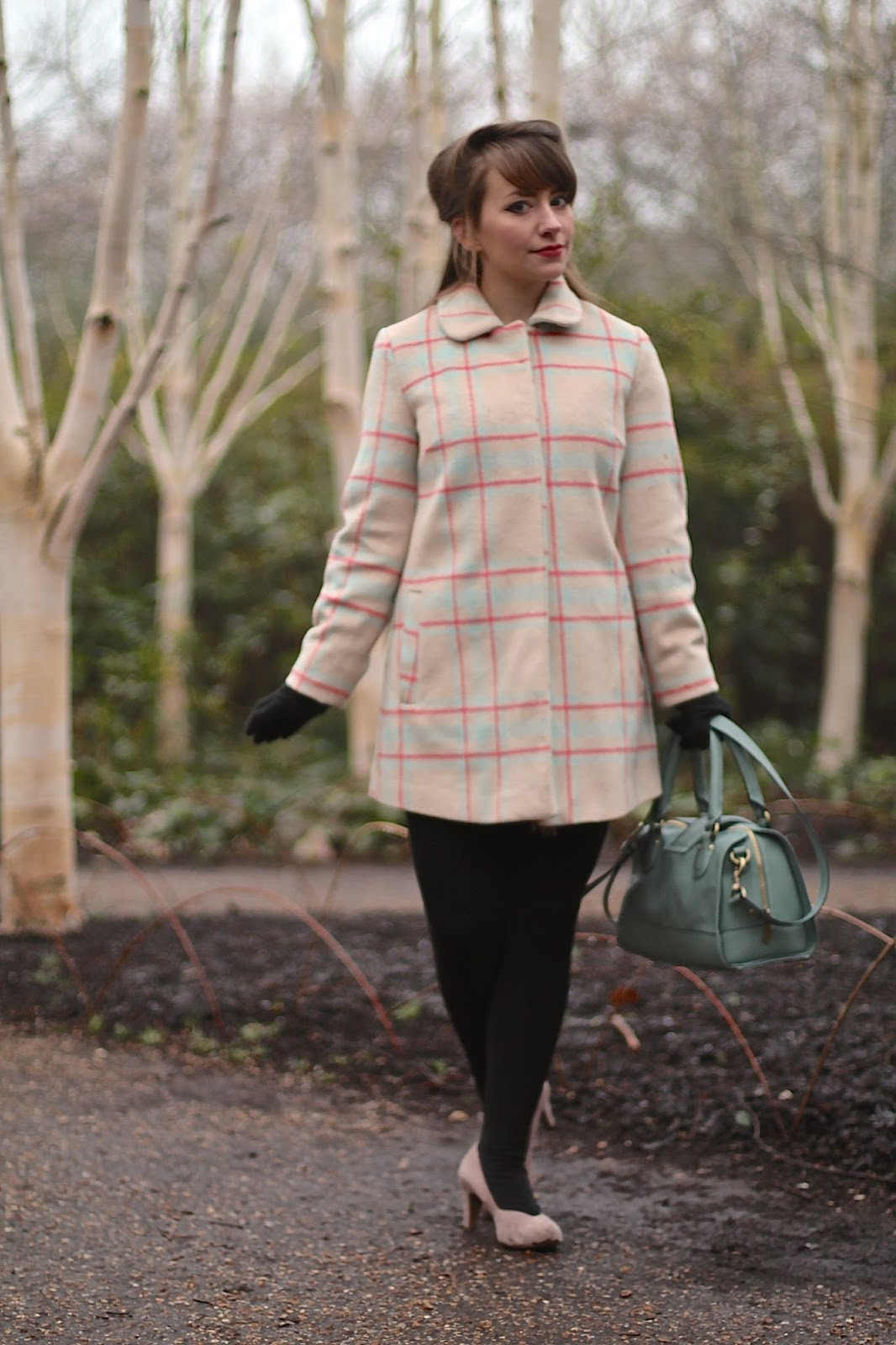 60s style pastel checked coat