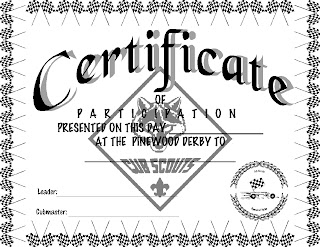 Pinewood Derby Certificates Templates Blank