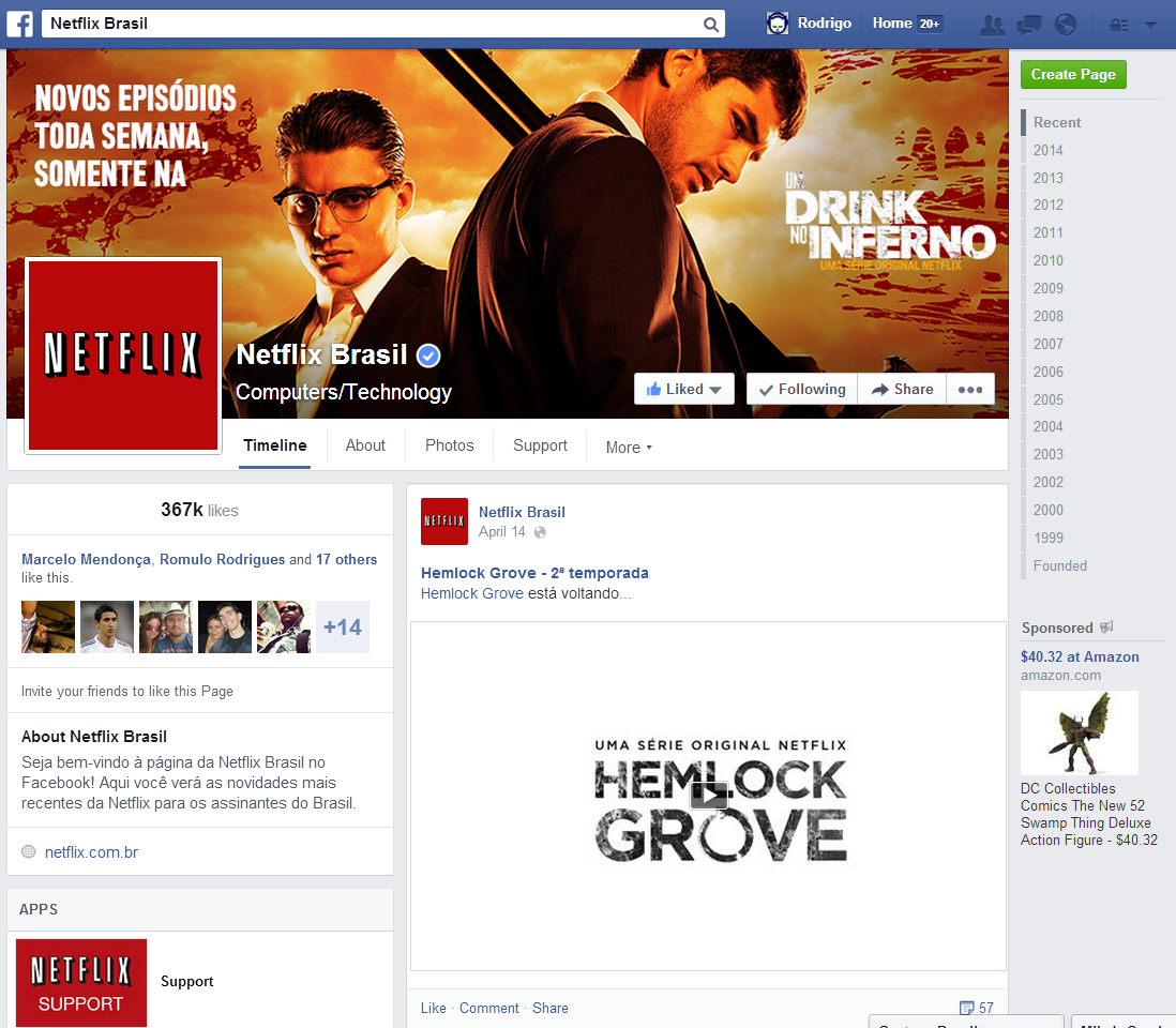 Novo Visual Netflix Facebook