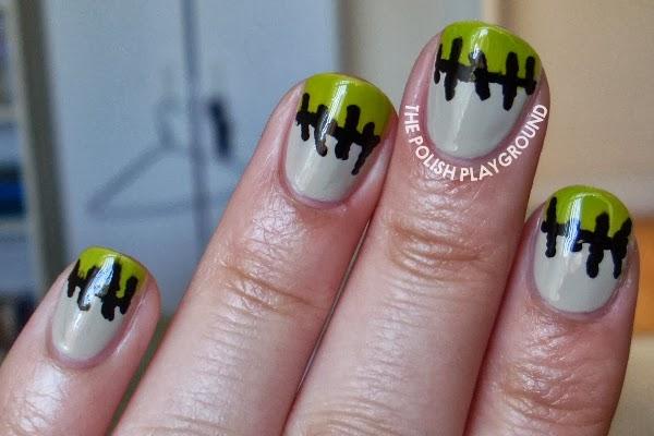 Frankenstein Stitched Up French Manicure