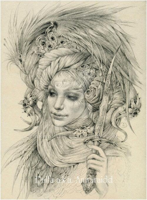 25-Garden-Guardian-Olga-Anwaraidd-Drawings-Fantasy-Portraits-Imaginary-Characters-www-designstack-co