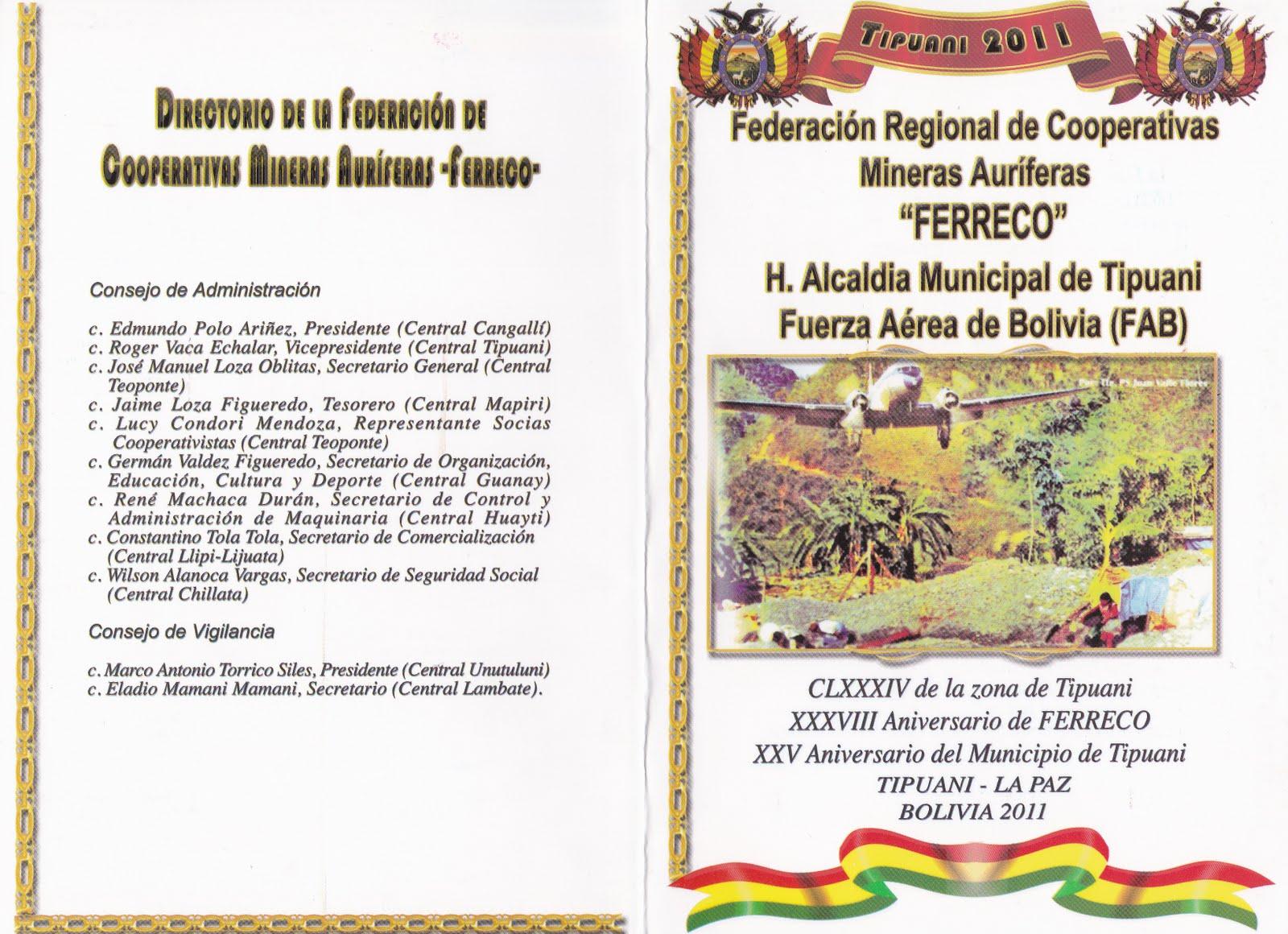 acto civico militar en tipuani invitaciÓn y programa para el acto