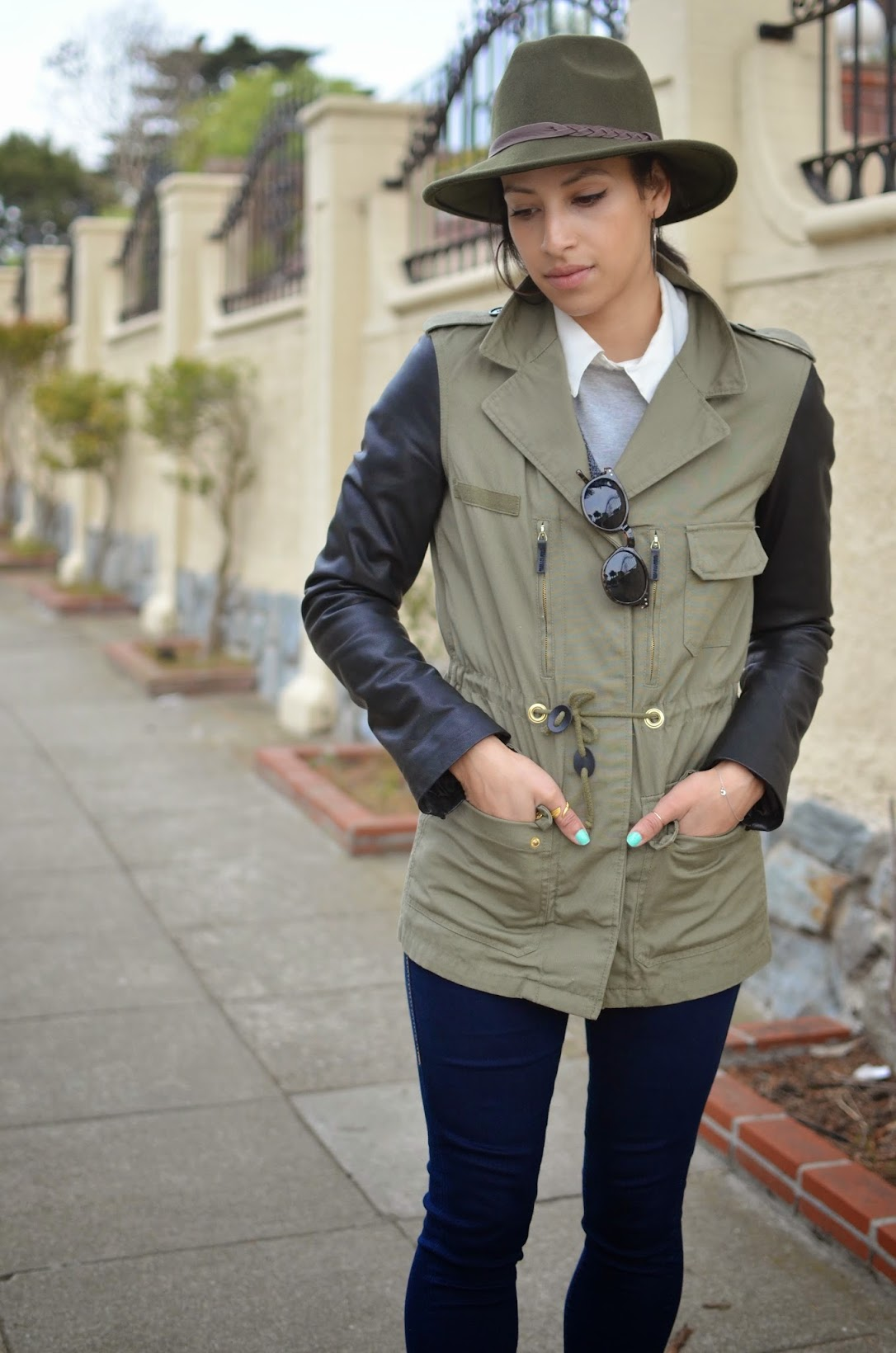 D'orsay flats, 10 Crosby D'Orsay Flats, Cargo jacket, Mixed Media Zara jacket, PacSun Fedora, Olive Fedora, Collared shirt, True Religion Skinny jeans