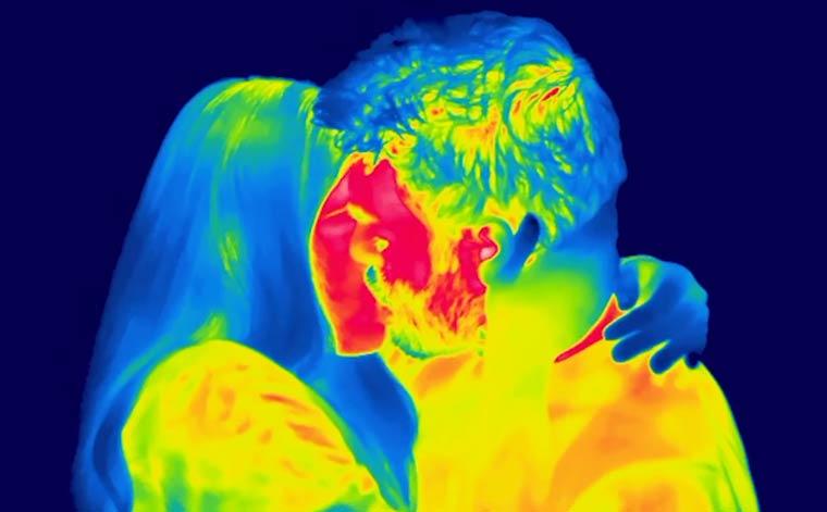 Imagens registradas com câmera termal