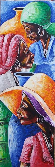 Haitianarts tableau visage couleurs