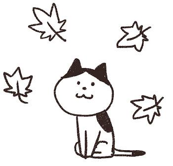 紅葉のイラスト「もみじと猫」線画
