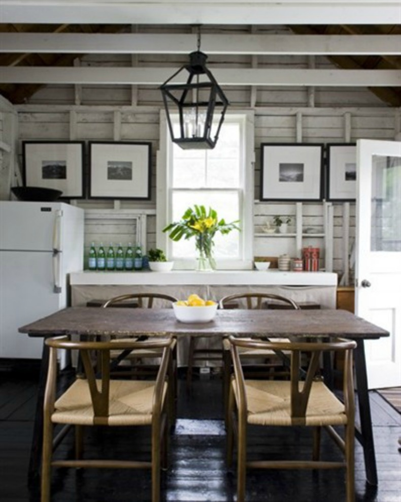 cottage kitchen and dining, coastal, wood and white