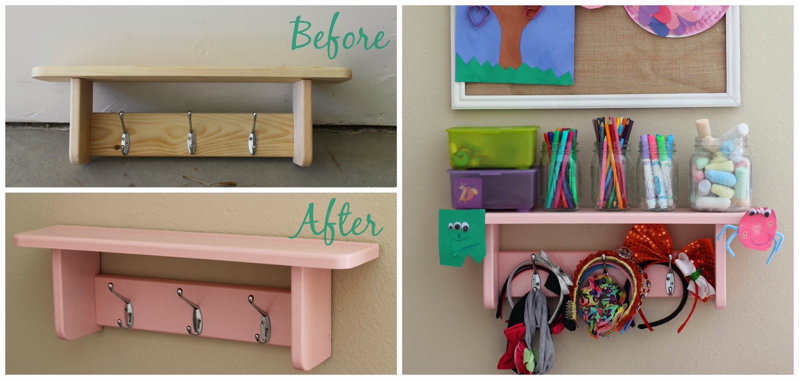 make it cozee 10 diy shelf with hooks. Black Bedroom Furniture Sets. Home Design Ideas