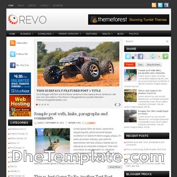 Revo blog template. magazine blogger template style. magazine style template blogspot. 3 column blogspot template