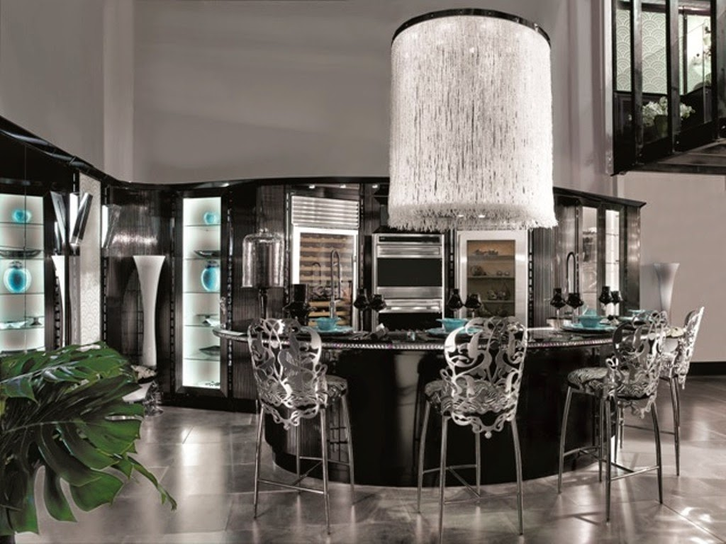 This Modern And Funky Kitchen Pulls Out All Of The Stops Newport Beach Chairs Are Amazing Lets Not Forget To Mention Showstopping Chandelier