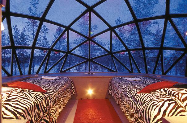 الفندق و المنتجع الزجاجي في فنلندا ، إستمتع بنظرة فريدة للشفق القطبي glass-igloo-hotel-fi