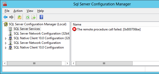 Fix error: The remote procedure call failed in Sql Server Configuration manager