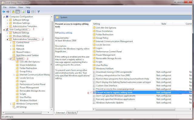 mengembalikan akses registry editor