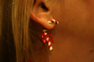 Candy cane earring