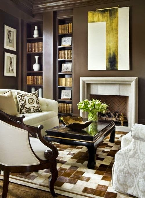 9 ideas de decoraci n de salas color chocolate for Tiffany d living room