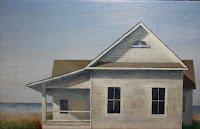 Work in Progress oil painting by Carroll Jones III--an old white house by the seashore