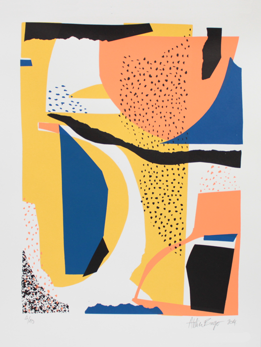 Silkscreen, yellow, blue, orange, black, pattern