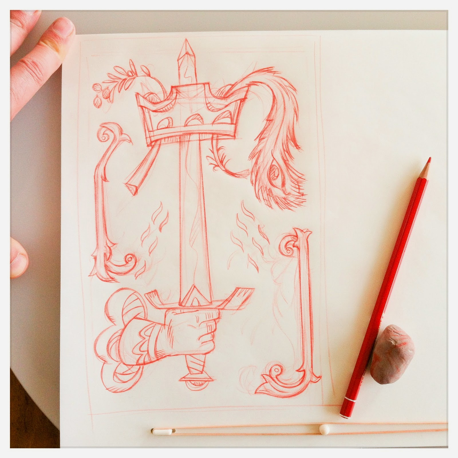 Design for: Ace of Swords -In the spirit of the tarot Marseille - minor arcana - red pencil sketch by Cesare Asaro - Curio & Co. (Curio and Co. OG - www.curioandco.com)
