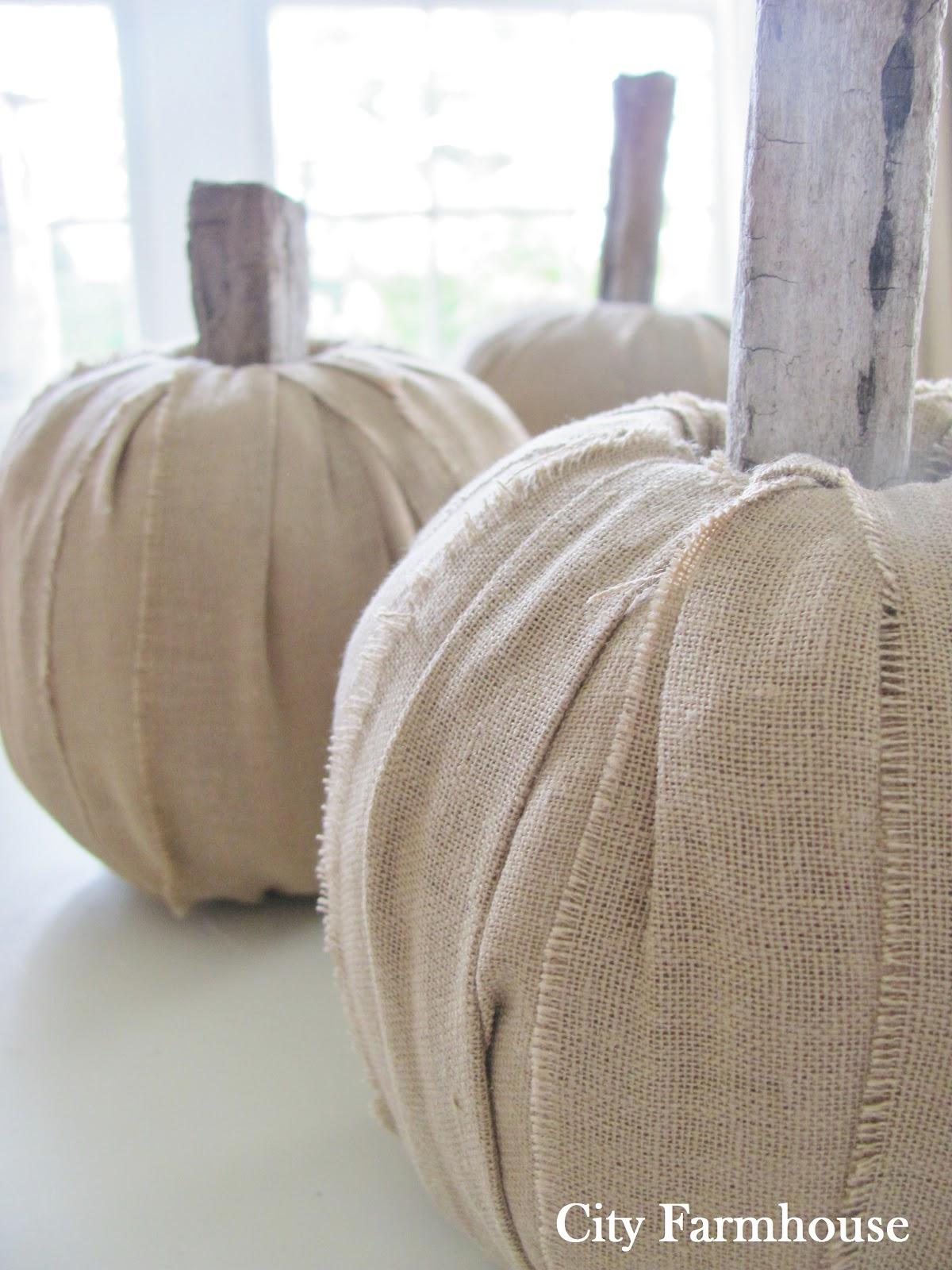 DIY Linen Driftwood Pumpkins City