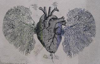 Heart and lungs graffiti in Paris