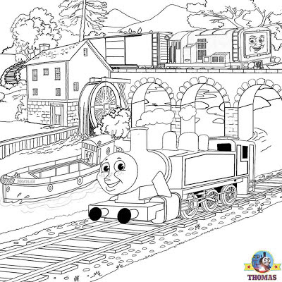 Waterway countryside landscape railway Diesel Rosie the train Thomas and friends printable colouring
