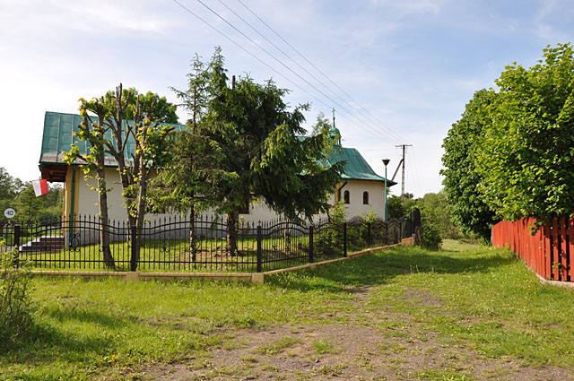 Wąsosz Stara Wieś, kaplica od strony południowej (fotografowałem z miejsca, w którym stała szkoła)