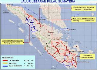 Peta Jalur Mudik Lebaran Lengkap P. Sumatera