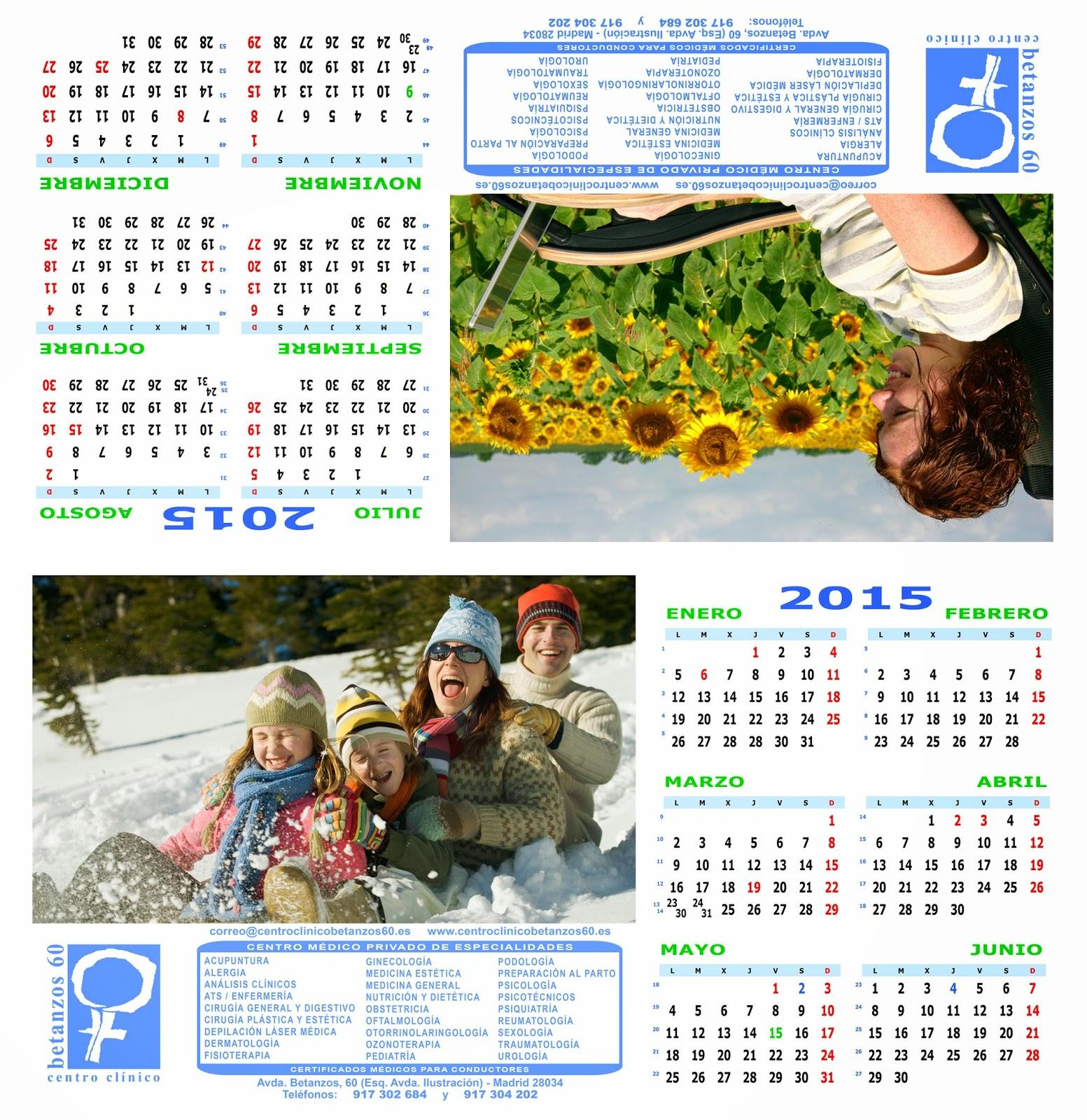 Diseño del calendario especial de 2015 de sobremesa