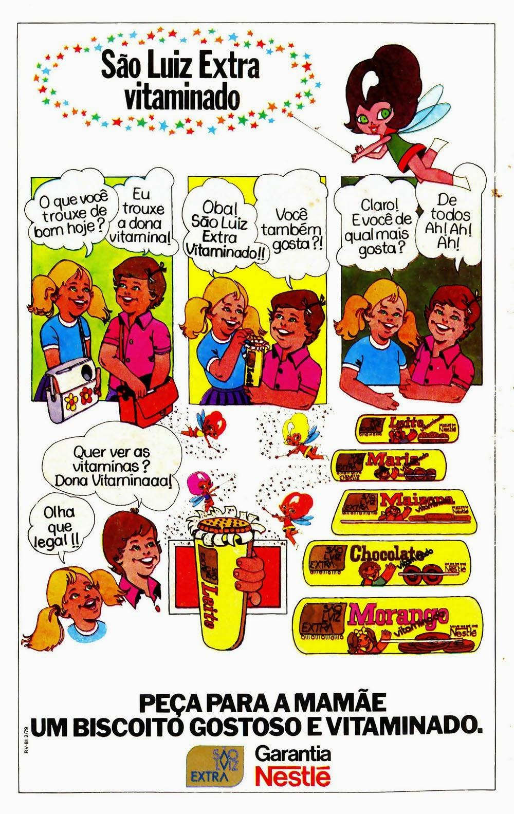 Linha de Biscoitos 'Extra Vitaminado' da São Luiz, apresentada em 1979.