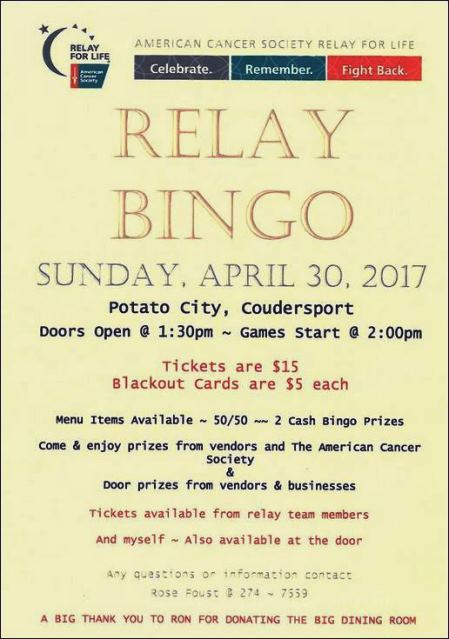 4-30 Relay Bingo Benefits Relay For Life