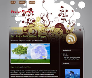 Vector Flowers Blogger Template