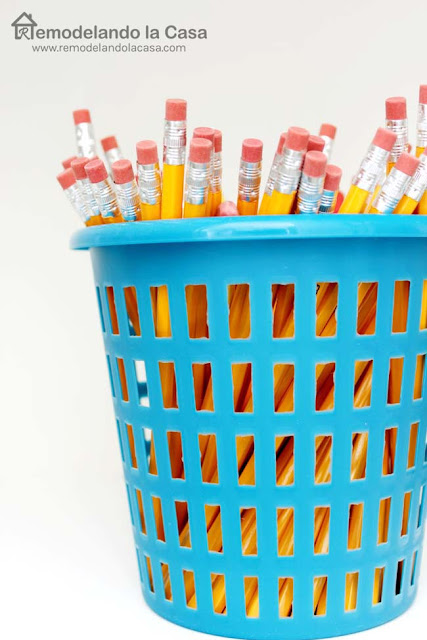 pencils in plastic bucket from Dollar general