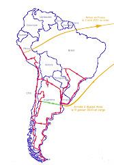L'itinéraire en Amérique du Sud de janvier 2010 à avril 2011