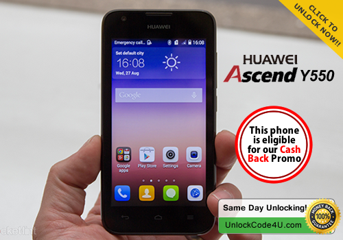 Factory Unlock Code for Huawei Ascend Y550