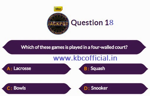 Ghar Baithe Jeeto Jackpot Question No 18 - Episode no 13 Dated 8th September 2014 - KBC GBJJ