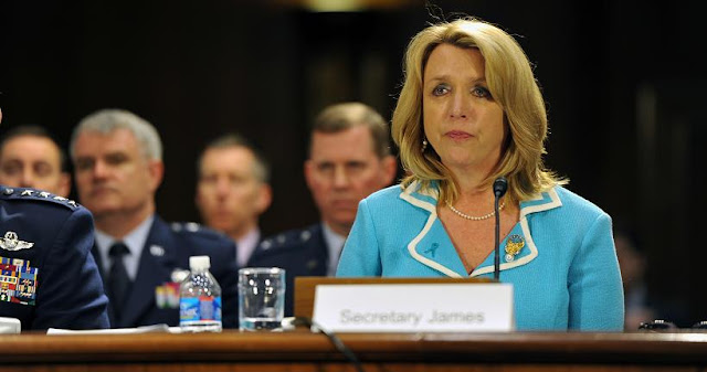 Secretary of the Air Force Deborah Lee James testifies at a hearing on the posture of the Air Force, Air National Guard and Air Force Reserve before the Senate Appropriations Committee Subcommittee on Defense, April 2, 2014. (U.S. Army National Guard photo by Sgt. 1st Class Jim Greenhill)