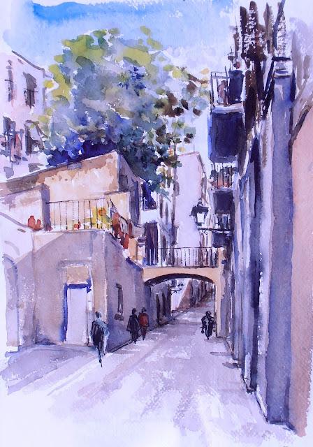 Joshemari larra aga acuarelas calle de carabassa casco - Casco antiguo de barcelona ...