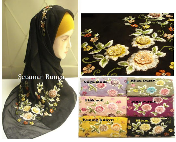 PRE-ORDER : TUDUNG SULAM SETAMAN BUNGA - RM 55 each