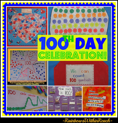photo of: Collage of 100th Day Celebration Art, Math and Science Projects from Rainbows Within Reach: Author Illustrator visit with Debbie Clement