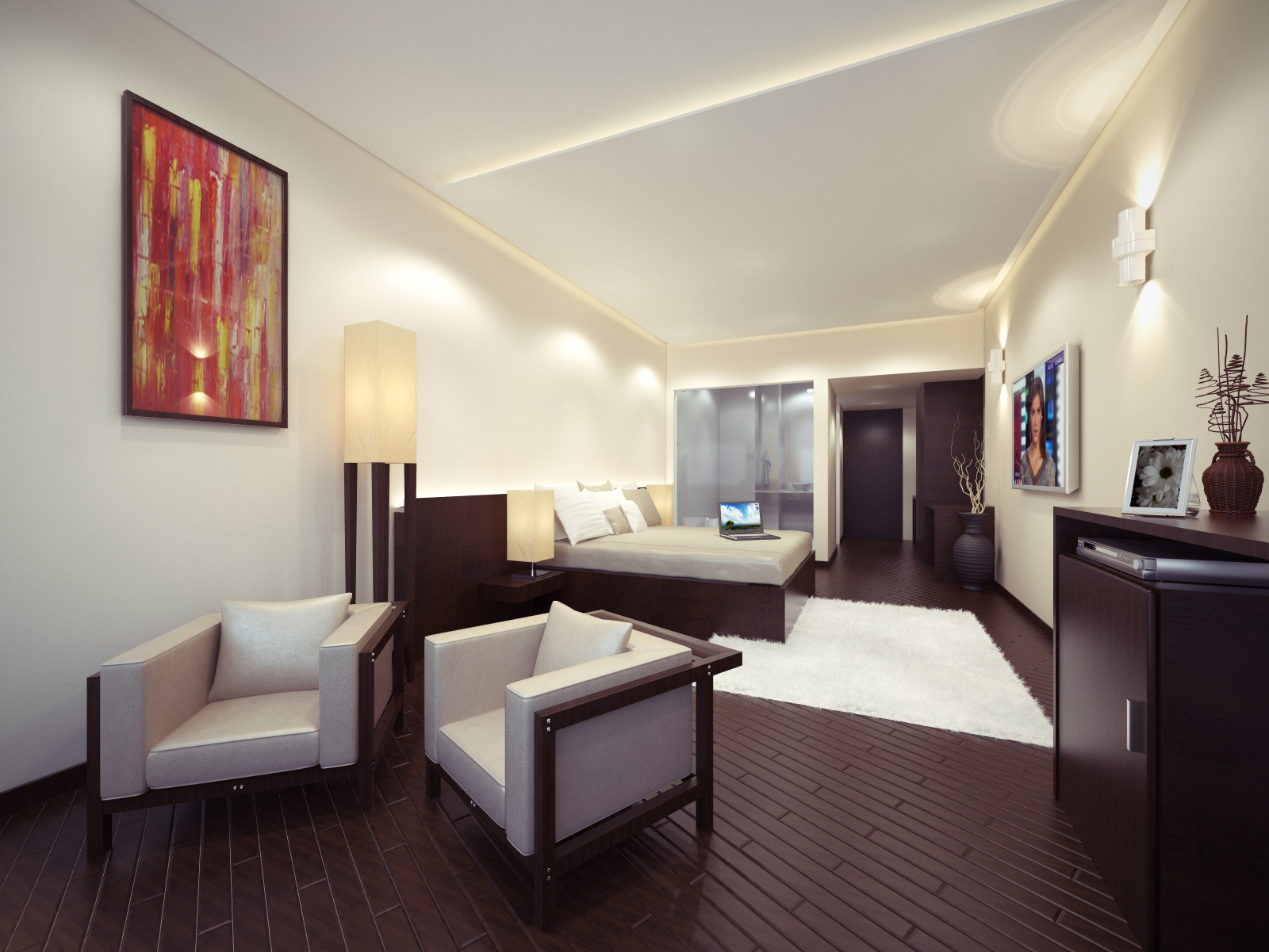 Shanth 3d hotel interior bedroom for Hotel room interior images