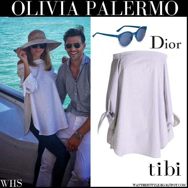 Olivia Palermo in white off shoulder Tibi tunic and round Dior Sideral sunglasses what she wore july 26 yacht vacation