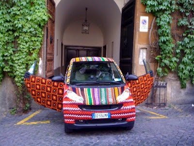 yarn bombing smart car yarn bomb