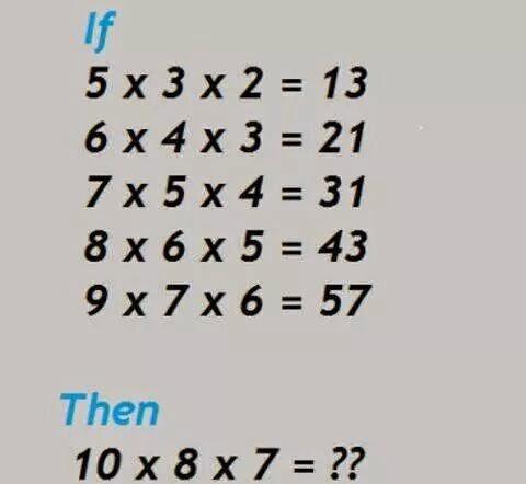 If 5 x 3 x 2 = 13