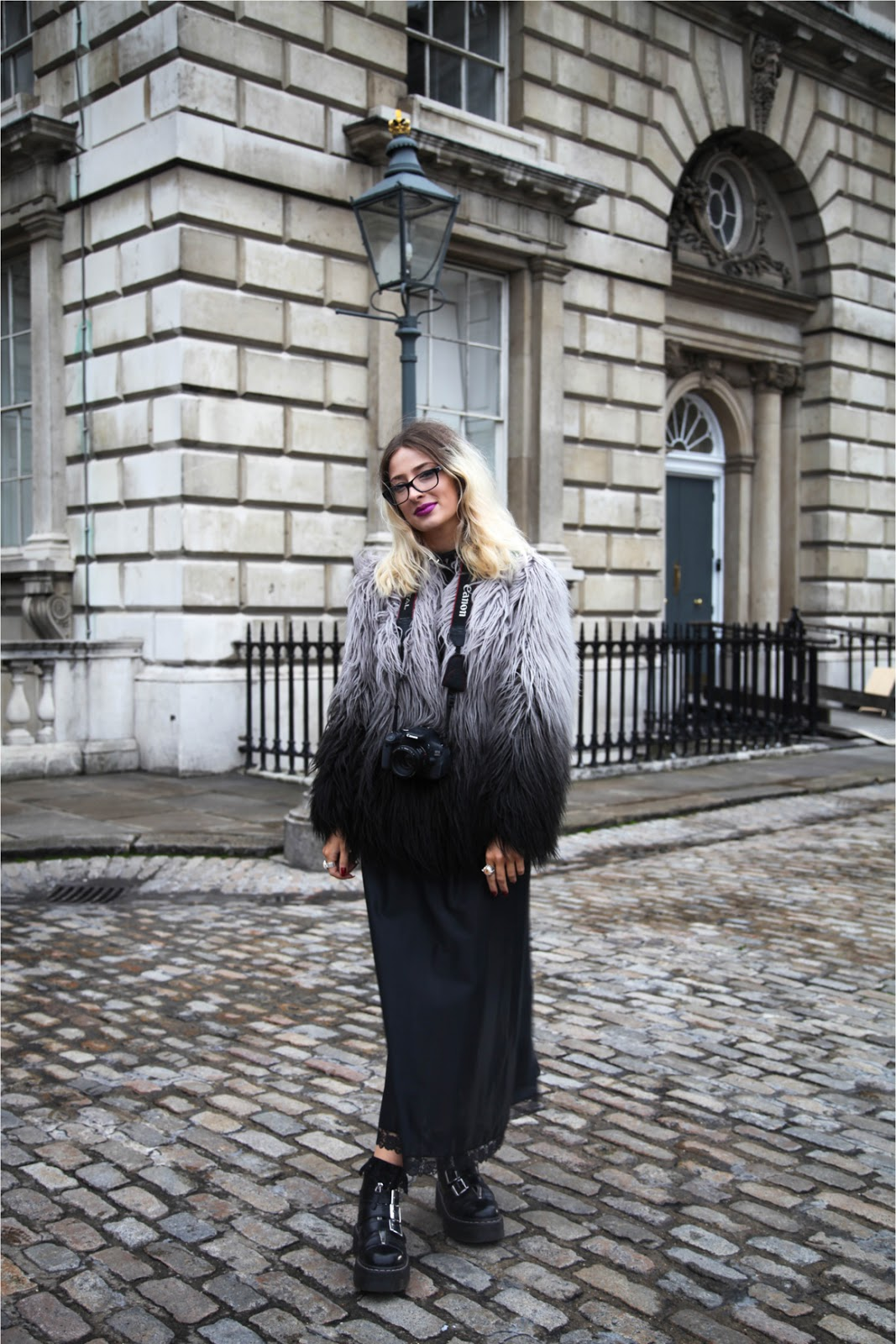 ombre fur jacket and hair, maxi skirt and platform shoes