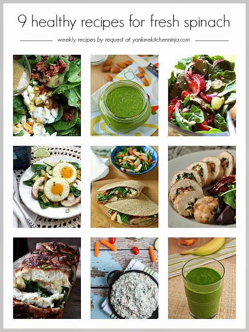 Nine healthy recipes for fresh spinach: breakfast, lunch, dinner, snacks and drinks - yankeekitchenninja.com