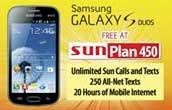 Samsung galaxy s duos offered free on sun cellular plan for Sun mobile plan