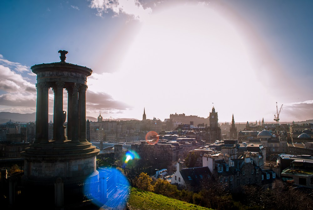 Sun and View Calton Hill Edinburgh
