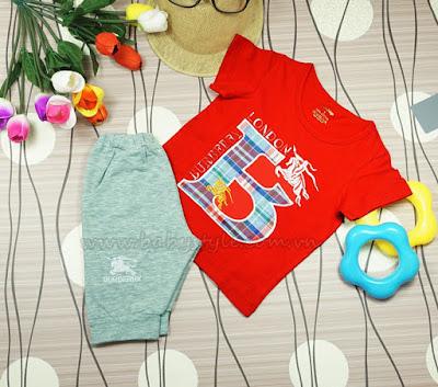 Bộ Burberry dành cho bé Nam màu đỏ - Babystyle.com.vn