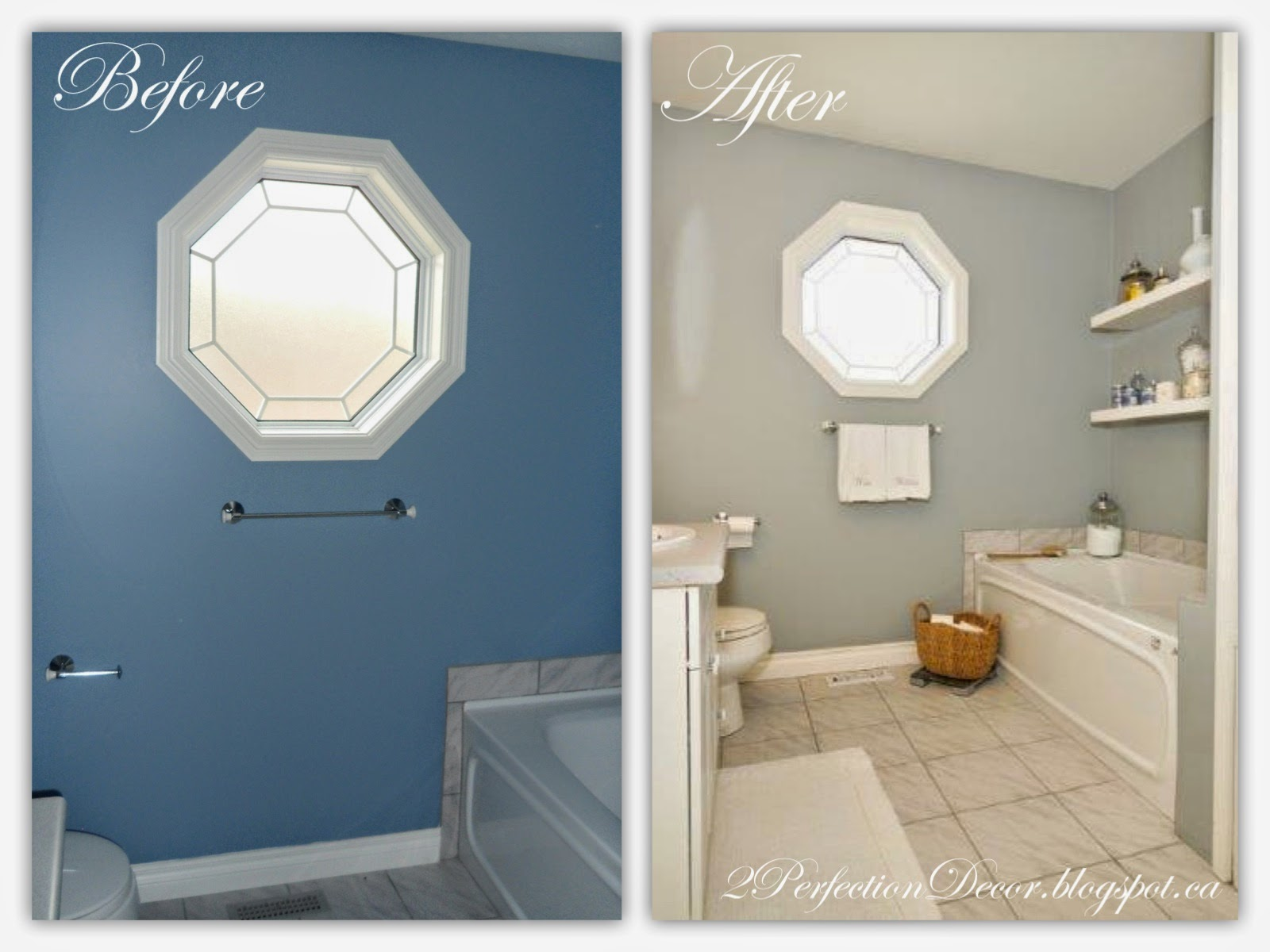 2Perfection Decor: Coventry Gray & White Bathroom Makeover