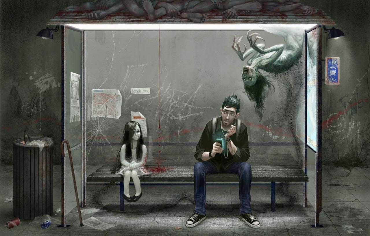 illustration de David Sladek representant une fillette et un homme et un esprit attendant a un arret de bus